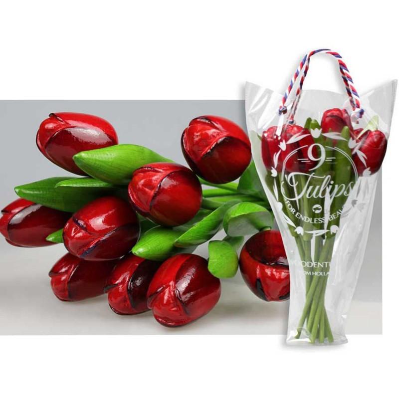 Rood Aubergine - Boeket Houten Tulpen