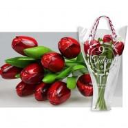 Houten Tulpen Rood - Boeket Houten Tulpen