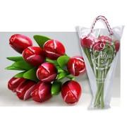 Houten Tulpen Rood-Wit - Boeket Houten Tulpen
