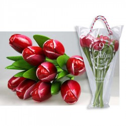 Red-White - Bunch Wooden Tulips
