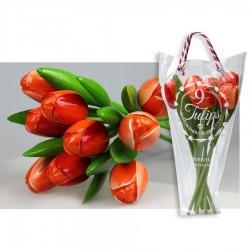 Oranje - Boeket Houten Tulpen