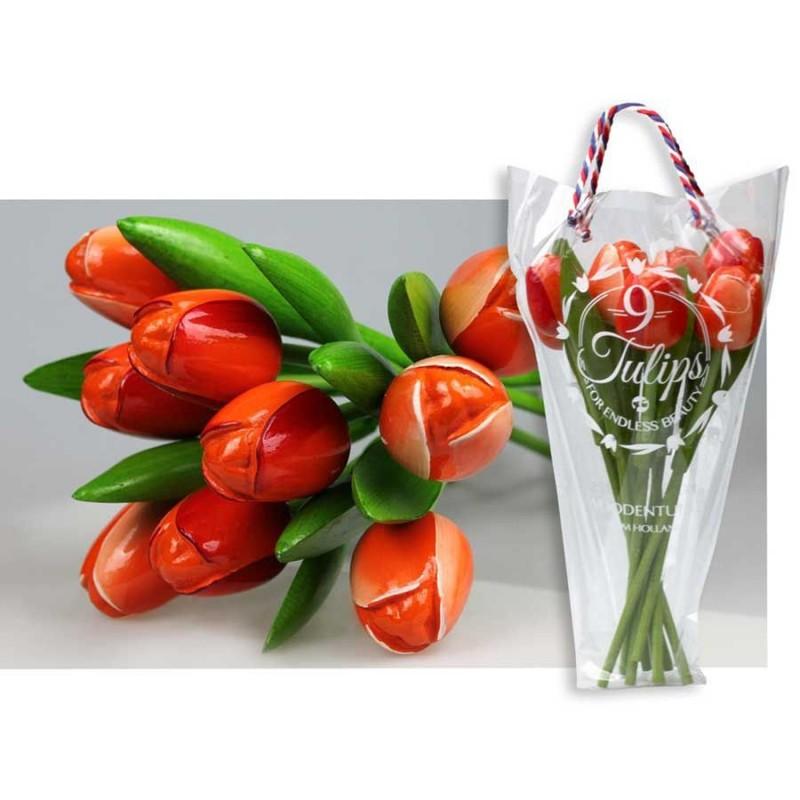Wooden Tulips Orange - Bunch Wooden Tulips