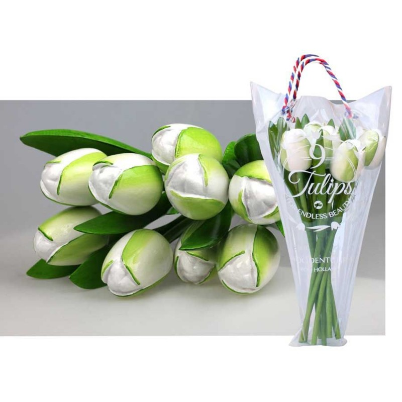 Wooden Tulips White - Bunch Wooden Tulips