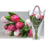 Houten Tulpen Roze en Wit - Boeket Houten Tulpen