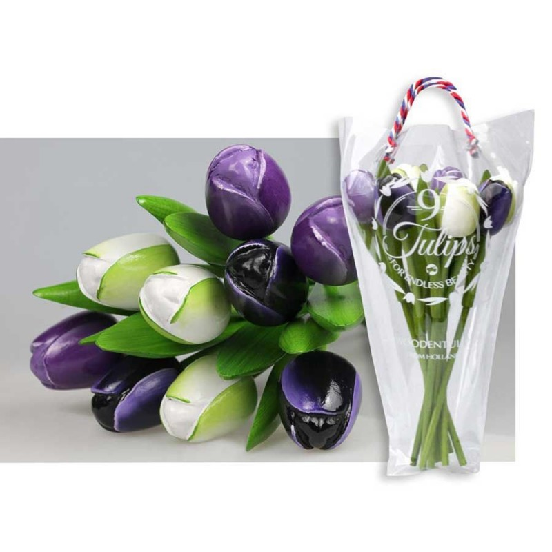 Purple and White - Bunch Wooden Tulips