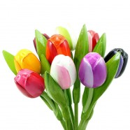 Mixed Colors - Bunch Wooden Tulips