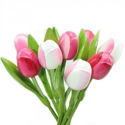 Roze en Wit - Boeket Houten Tulpen