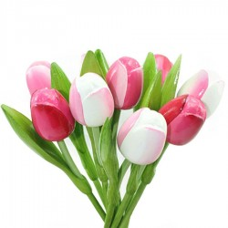 Wooden Tulips Pink and White - Bunch Wooden Tulips