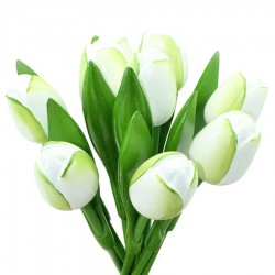 White Green - Bunch Wooden Tulips