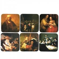 Onderzetters Rembrandt - Kurk Onderzetters - 6 assorti