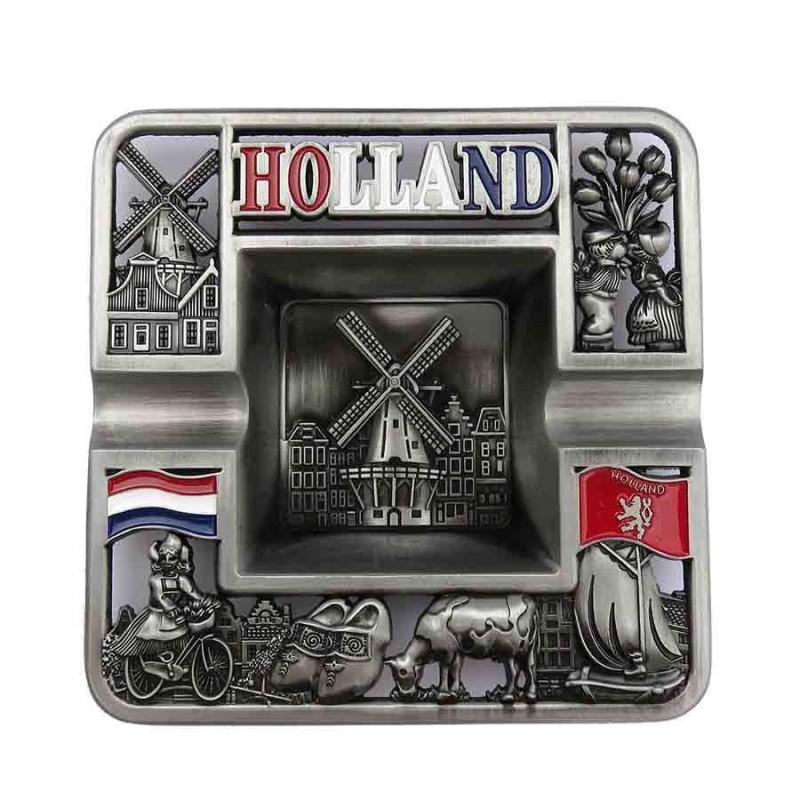 Vierkant Holland - Tinnen Asbak