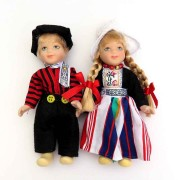 Poppen  Paar - 13 cm - Zwart Traditionele Hollandse Klederdracht