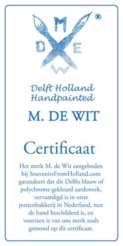 Certificaat Handgeschilderd Delfts Blauw M. de Wit