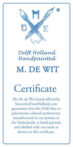 Certificate Handpainted Delftware M. de Wit
