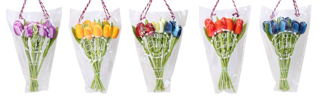 Bunch wooden tulips in gift bag